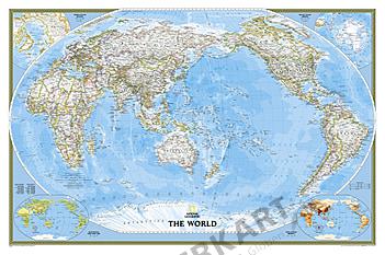 Politische Weltkarte Pazifik Ansicht (Großformat)