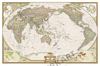 Executive Antik-Weltkarte Pazifik Ansicht von National Geographic im Großformat