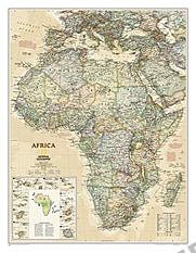 Politisk executive kort over Afrika National Geographic