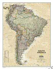 Executive landkort over Sydamerika NGS