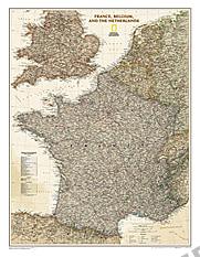 Frankreich Belgien Niederlande Karte antiker Stil von National Geographic