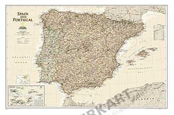Spanien Landkarte und Portugal Karte antiker Stil National Geographic