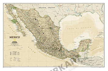 Mexico Wall Map antique style executive from National Geographic