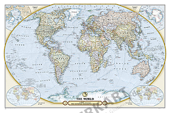 Weltkarte 125 Jahre National Geographic 117 x 76cm