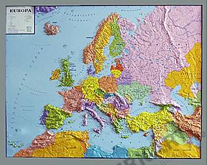 3D Relief Europe Map Political framed