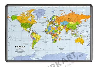 Weltkarte politisch Pinnwand mit Aluminiumrahmen