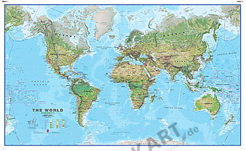 Physical World Map 1:20 Mio - pinboard