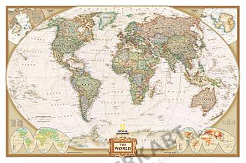 Weltkarte executive englisch in antikem Stil als Tapete