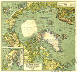 1925 Arktische Regionen Karte 51 x 48cm