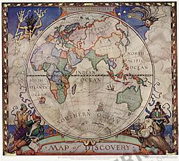 1928 Entdecker Weltkarte - Östliche Hemisphäre 47 x 42cm