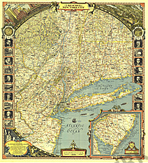 1939 Reaches Of New York City Map National Geographic