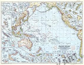 1952 Stillehavet Kort 94 x 74cm