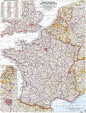 1960 Frankreich, Belgien und die Niederlande 48 x 63cm