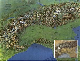 1965 Die Alpen - Europas Rückgrat 63 x 48cm
