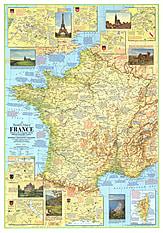 1971 Frankreich Reisekarte Seite 1 58 x 82cm