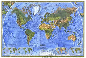1975 Weltkarte physikalisch 89 x 61cm