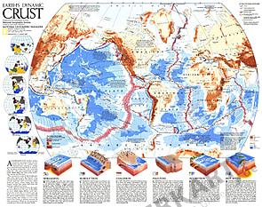 1985 Die Erdplatten der Welt 57 x 45cm