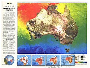 1988 Australia Continental Odyssey Map National Geographic