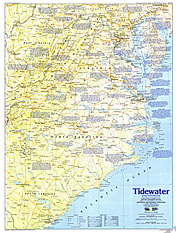 1988 Tidewater And Environs Map Side 1 National Geographic