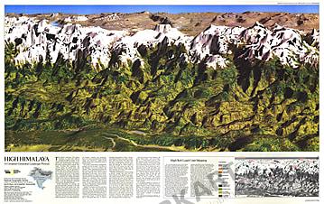 1988 High Himalaya Map National Geographic
