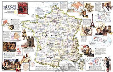 1989 Historische Frankreich Karte 79 x 51cm