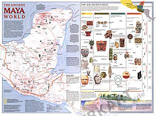 1989 Ancient Maya World Map National Geographic