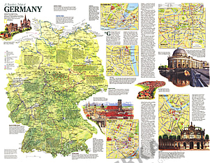 1991 Travelers Map Of Germany 66 x 51cm