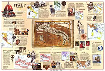 1995 Historische Italien Karte 56 x 84cm